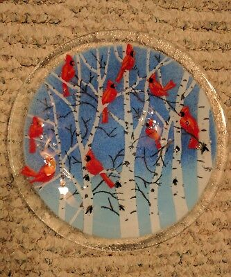 Colorful Studio Art Glass Plate Red Cardinals White Birch Trees Signed by Artist