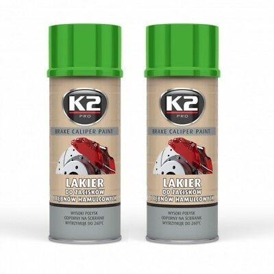 K2 BRAKE CALIPER PAINT 2x 400ml Grün Bremssattel Bremstrommel Spray