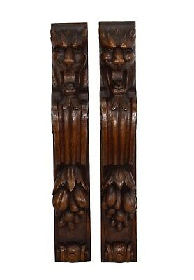 Architectural French Antique Pair of Carved Oak Wood Trim Posts Pillars Columns
