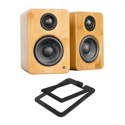 Kanto YU2 2x 25W RMS Powered Desktop Speakers Bamboo W/S2 Desktop Speaker Stand