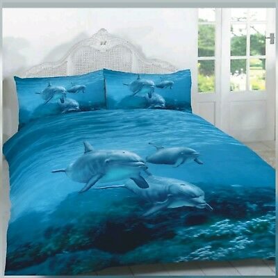 New 3D Dolphin Printed Attractive Double Duvet Quilt Cover Set 200 X 200 Cm