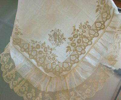 Antique Appenzell Whitework Embroidered Boudoir P Case Lace Trim French