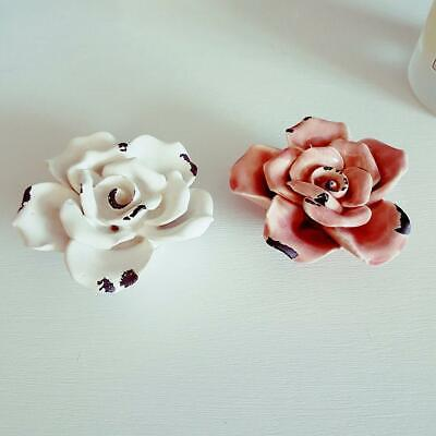 Small Pink Ceramic Pink or White Rose Aged Vintage Chic n Shabby Decoration
