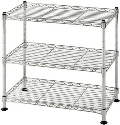 Shelving Unit 18 in. W x 18 in. H x 10 in. D 3-Shelf Steel Commercial in Chrome