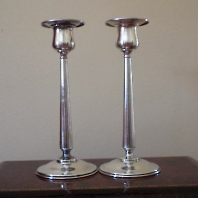 2 Antique Silverplate Candlesticks By Meriden S.P. Co. International Silver Co.