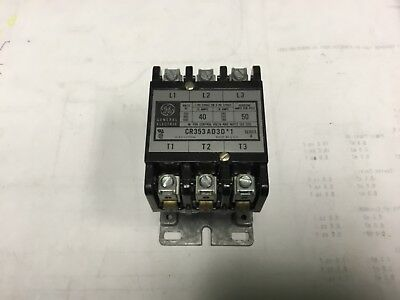 GE GENERAL ELECTRIC CONTACTOR CR353AD3D*1 SER A 40/50 amps 3 phase 120v coil