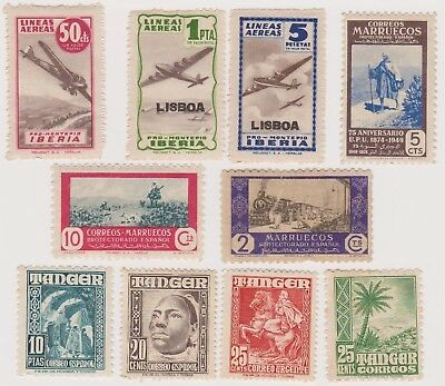10 different older used stamps from Spanish Morocco and Tanger