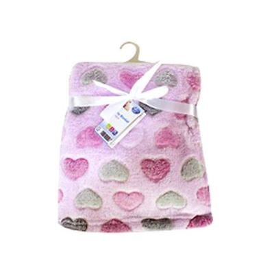 First Steps Supersoft Fleece Baby Blanket 75x100cm Pink Hearts