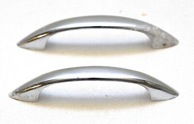 Pair Vintage Art-Deco Chrome Cabinet Drawer Pull Handle 4""