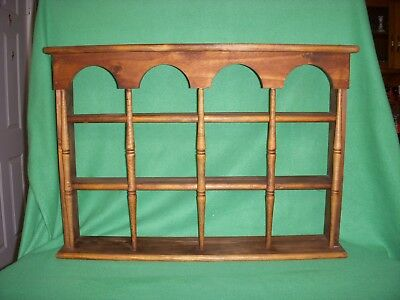 Vintage Wood Spindle 12 Tea Cup-- Saucer Wall Display Shelf Curio