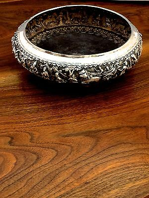Thai Sterling Repousse Hand-Made Silver Bowl with Decorated Relief No Monograms
