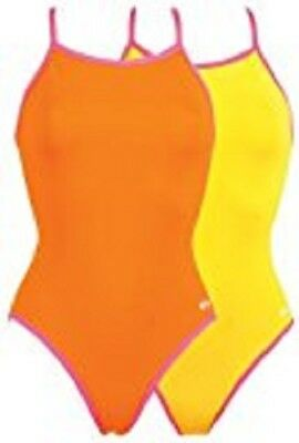 Dolfin Solid Competition Swimsuit - Cross Back (For Women) ORANGE  34  38
