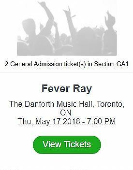 Fever Ray Tickets Toronto May 17, 2018 General Adminssion