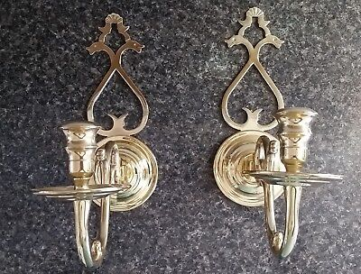 2 Beautiful Vntg Large Heavy Brass Wall Candle Holder / Sconces, Very Nice Pair!