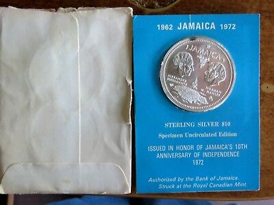 1972 Jamaica $10 Silver Coin In Original Coa Holder And Paper Bag
