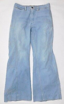 High Waist Disco Bell Bottom Jeans 70's Embroidered Leg Large Boho Hippie Hi