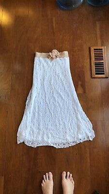 NWT Bebe White Pointelle Flower Dress, Size Small
