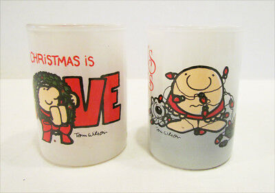 ZIGGY CHRISTMAS IS LOVE & SEASON'S GREETINGS GLASS CANDLE HOLDER PAIR 1980's