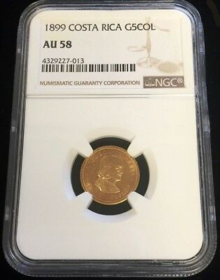 1899 Gold Costa Rica 5 Colones Colombus Coin Ngc About Uncirculated 58