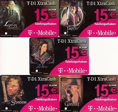 Lord Of The Rings The Two Towers Movie 2002 Germany Set Of 5 Phone Cards Base