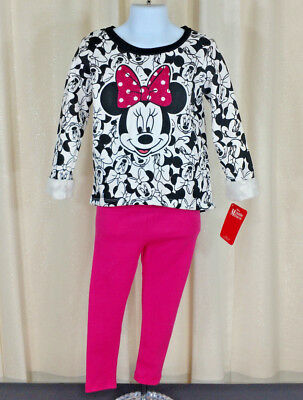 2pc Disney Minnie Mouse Pink Black Outfit Shirt Pants Child Toddler Size 3T NWT