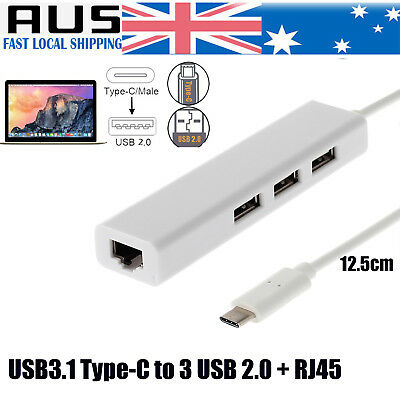 USB 3.1 Type C to RJ45 Lan Ethernet Network Adapter 3 Port Hub For Win Mac OS PC