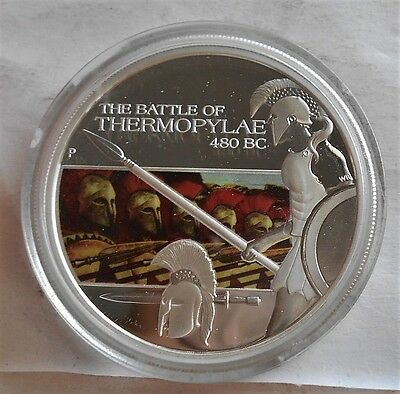 2009 1$ Famous Battles THERMOPYLAE  1oz Proof Silver Coin W All Mint packaging