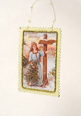 Victorian Style Postcard Woman With Cross Inspirational Christmas Ornament New