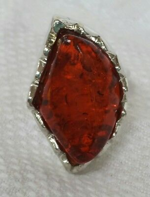 Vintage Ring Amber Colored Center Stone Large Silver Tone Metal Fun Fashion