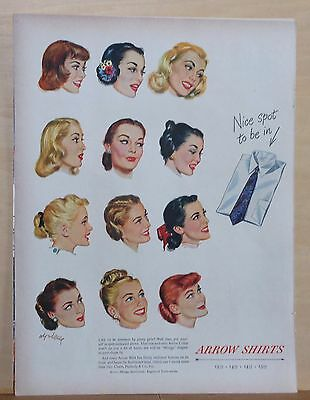 1948 magazine ad for Arrow Shirts - Coby Whitmore illustrations of women