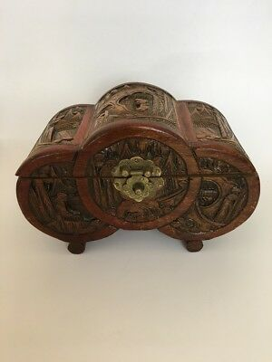 VINTAGE Wood Carved Jewellery Box - Japan
