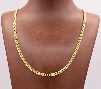 4mm Miami Cuban Chain Necklace Solid 14K Yellow Gold Clad Silver Box Lock Italy