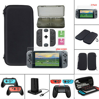 US For Nintendo Switch Carry Bag Case/Glass Film/Controller Grip Accessories Kit
