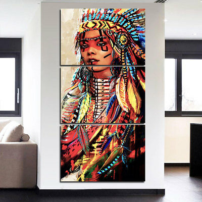 3 pcs Canvas Art Native American Indian Woman Painting Feathered Wall Art Decor