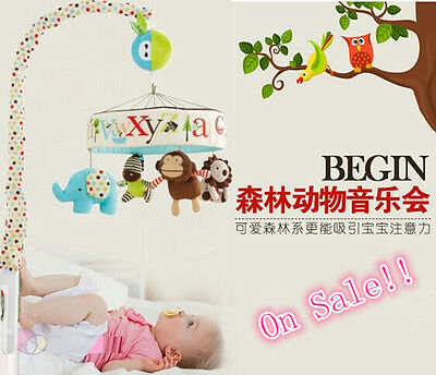 High Quality Newborn Baby Crib Musical Mobile Toy Cot Decoration Gifts Free Ship