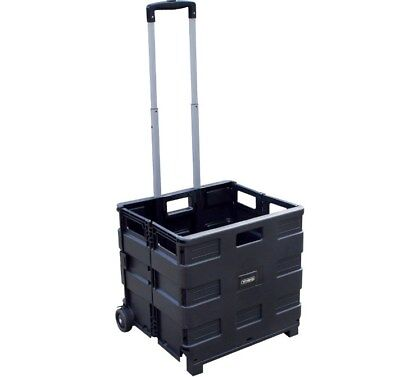 Viso Black Heavy Duty Polypropylene Folding Trolley Crate Telescopic Handle P4QS