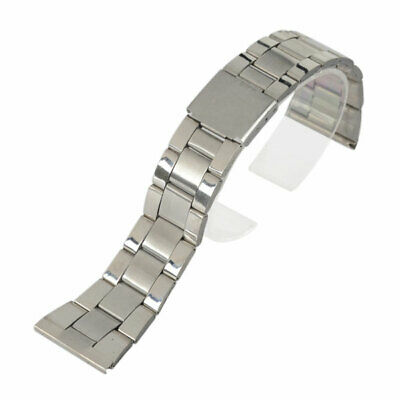 Silver Stainless Steel Aircraft Buckle Watch Band Wristwatch Strap Bracelet