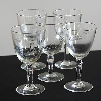 Vintage set of FIVE hand-made cut crystal wine glasses, with nice barley motif !