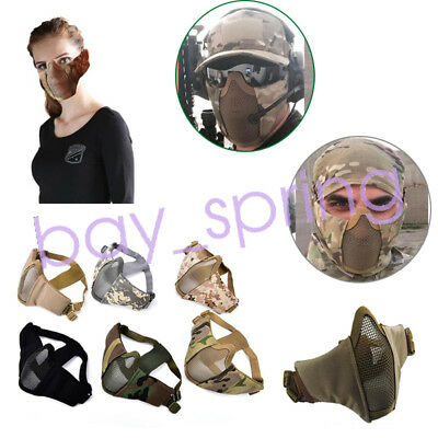 Half Face Metal Steel Net Mesh Mask Airsoft Paintball Protective Nylon Mask