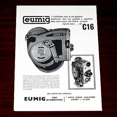 Vintage 1950s Australian print advertisement for the EUMIG C16 Cine Camera