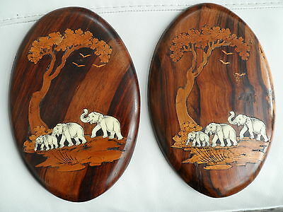 Vintage 2 Wooden Indian Wall Plaques Inlaid In Various Woods Elephants & Trees