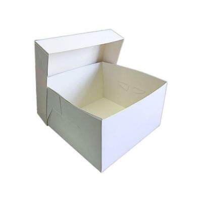 """10 x 10"""" WHITE STAPLESSS CAKE BOXES WITH SEPERATE LID - WEDDING BIRTHDAY CAKES"""