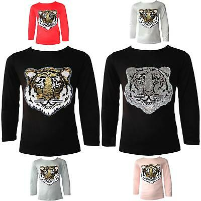 c6edd857b08a3 Girls Emoji Emoticons Tiger Face Tops Tee Top Brush Changing Sequin New Age  3-14