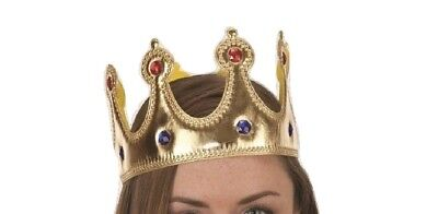 Gold Jeweled King Queen Crown Prince Princess Adult Costume Accessory Adjustable