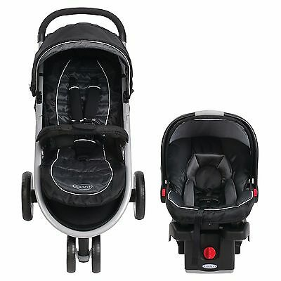 Baby Stroller Carriage Combo Car Seat Infant Child Trolley Ultra Light Black