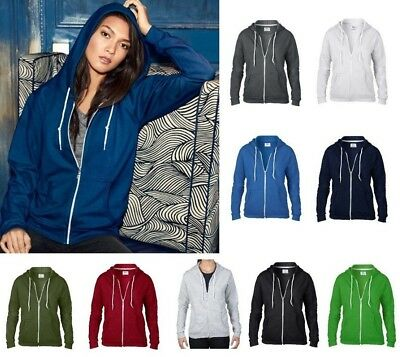 ANVIL Ladies Fashion Full Zip HOODED SWEATSHIRT Hoody in 9 Colour Choices
