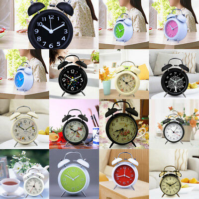 18 Traditional Loud Double Bell Wind Up Alarm Clock Bedside Tabletop Night Light
