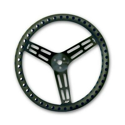 "Black Drilled Lightweight Steering Wheel 15"" Aluminum 15 in Racing steeringwheel"