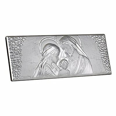 Italian Argento Madonna, Joseph and Child Holy Family Full Silver Icon on Wood -