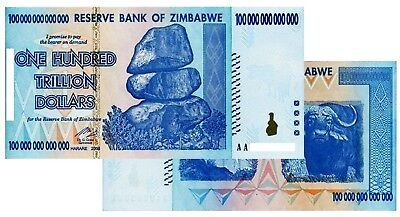 (1) 100 Trillion Zimbabwe Dollars Uncirculated Note 100 Trillion Note 2008 Aa